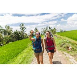 Camisa de manga larga trekking TRAVEL 500 transformable mujer azul