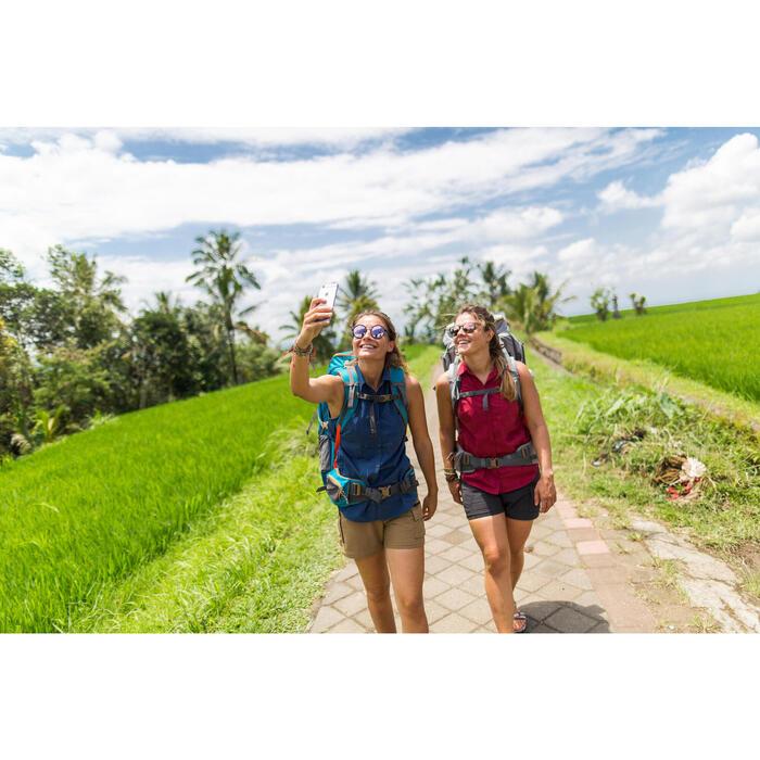 Damesblouse Travel 500 met lange mouwen, omvormbaar, bordeaux