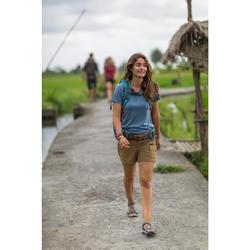 Tee-Shirt manches courtes trekking TRAVEL500 laine merinos femme bleu