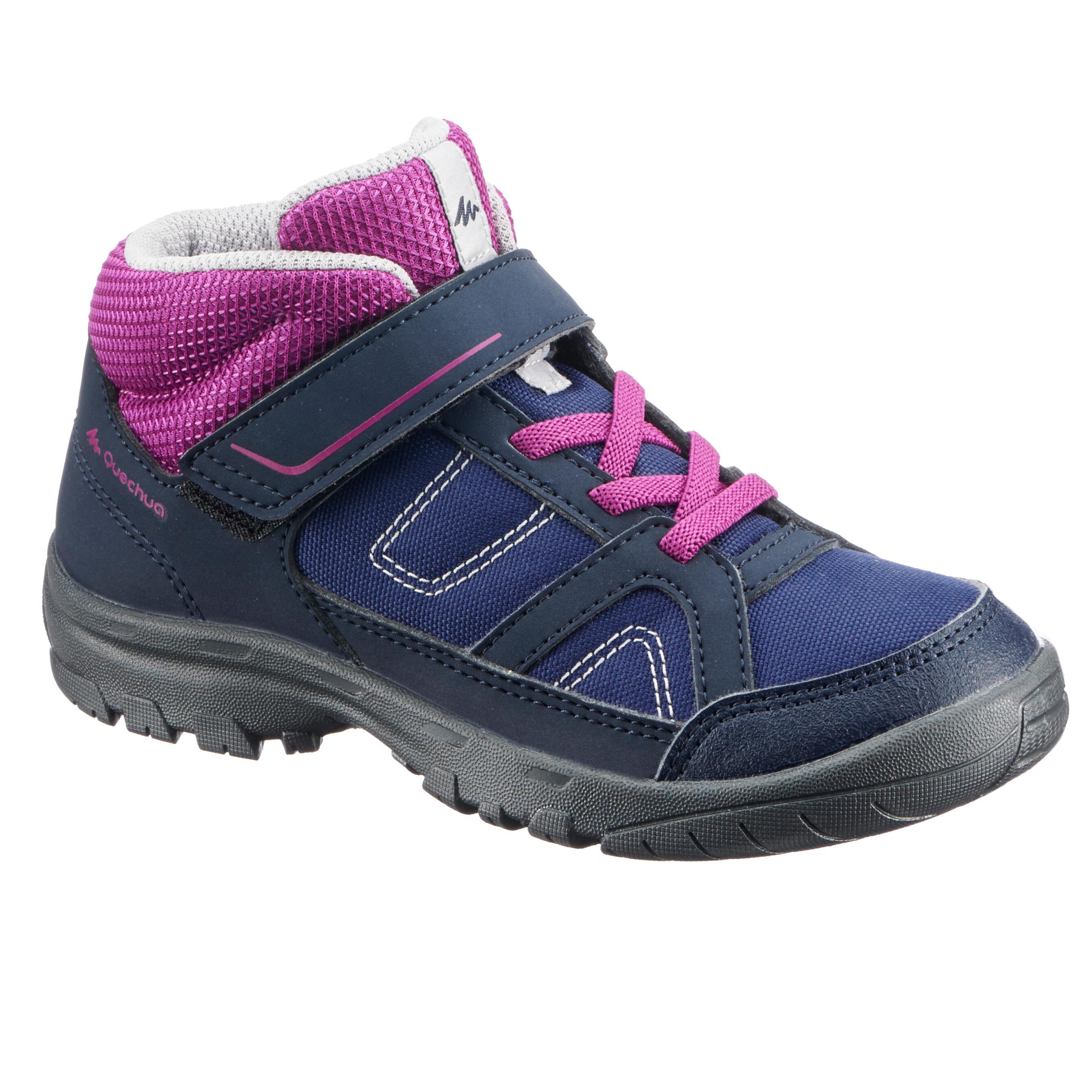 Quechua Hoge wandelschoenen voor kinderen MH100 mid blauw/paars 24 tot 34