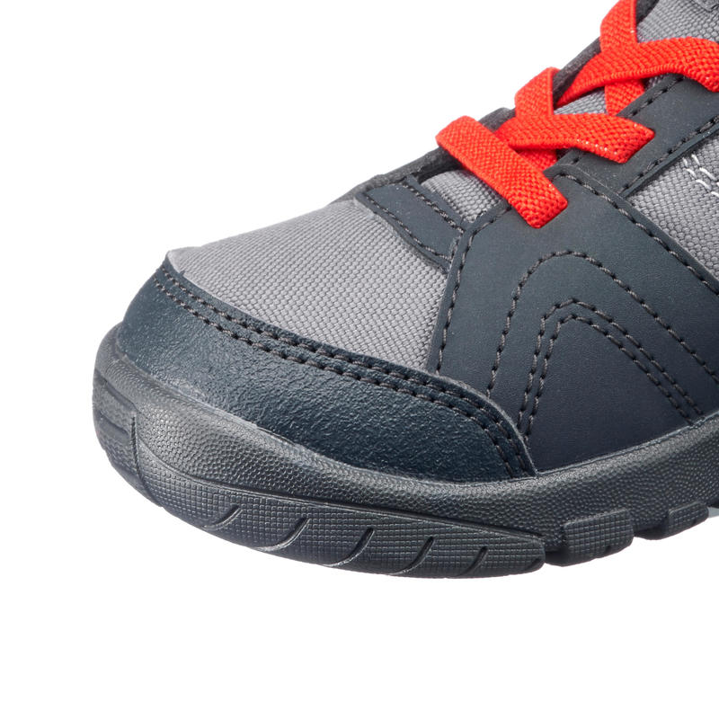 MH100 Mid Kids' High Mountain Hiking Boot - Grey/Red C7 to 2