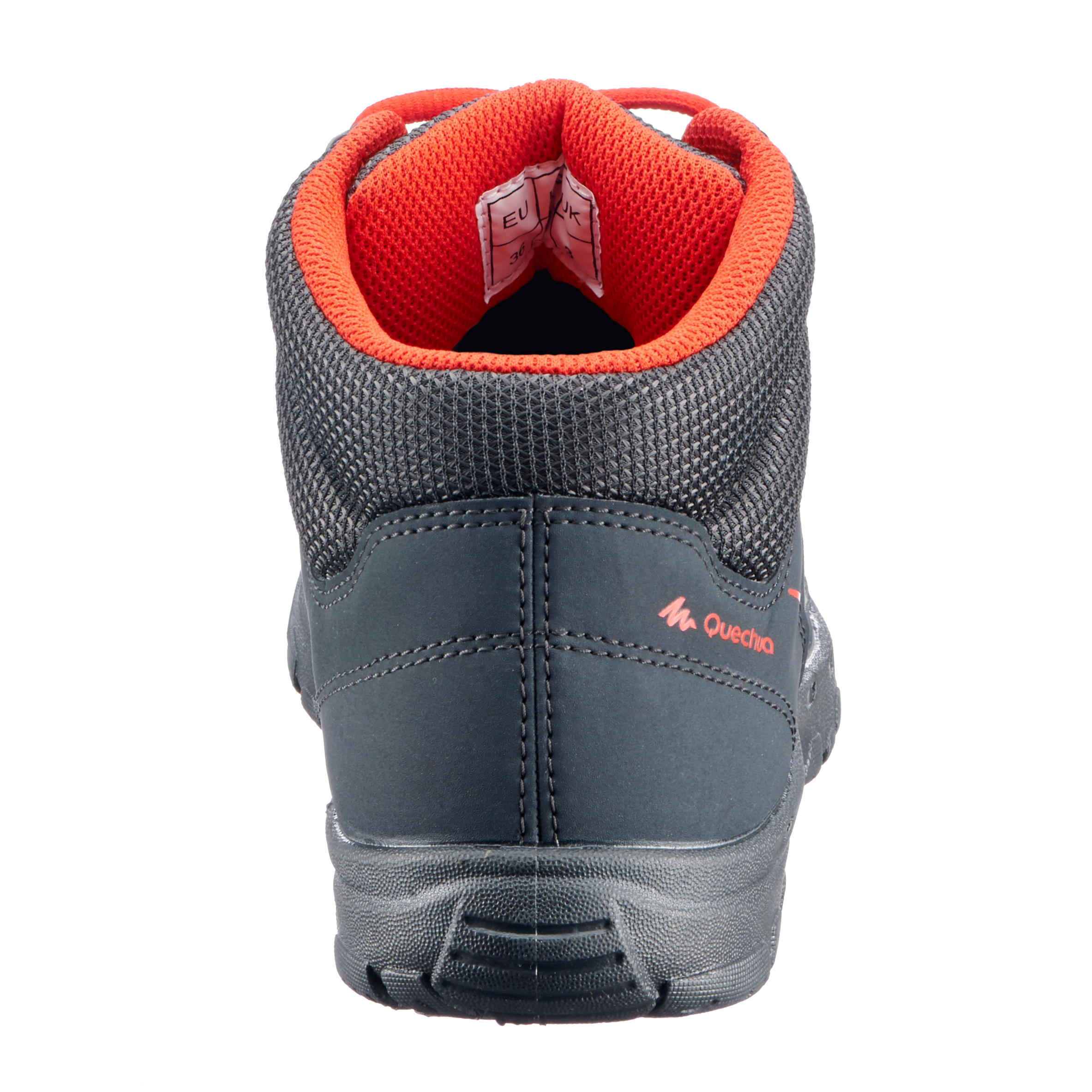 MH100 Mid Kids' Hiking Shoes - Black/Red, from size 2.5 to 5