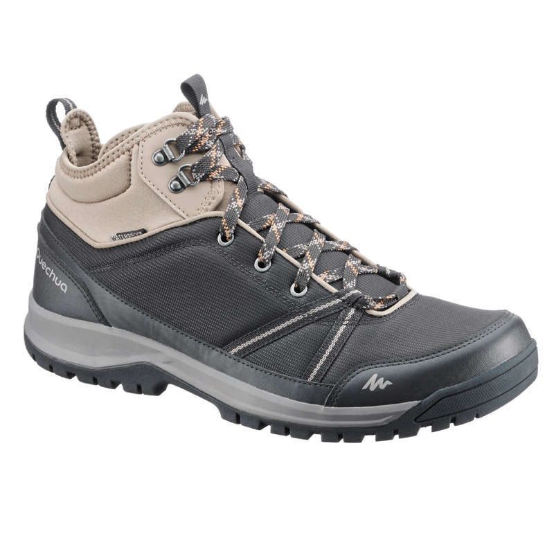 MEN NATURE HIKING SHOES Hiking - NH150 Mid Mens Waterproof Walking Boots - Black  QUECHUA - Outdoor Shoes