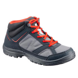 MH100 Mid Kids' Hiking Shoes - Black/Red, from size US 3 to 5.5