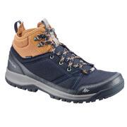 Modri in rjavi moški srednje visoki vodoodporni pohodniški čevlji NH300