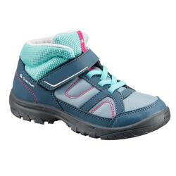 兒童款中筒健行鞋MH100 - 灰色/粉紅色