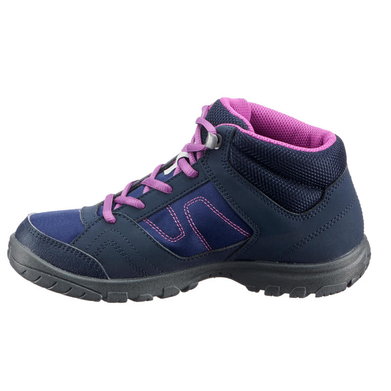MH100 Mid Jr Kids' High Hiking Boots Sizes 3 to 5 - Purple