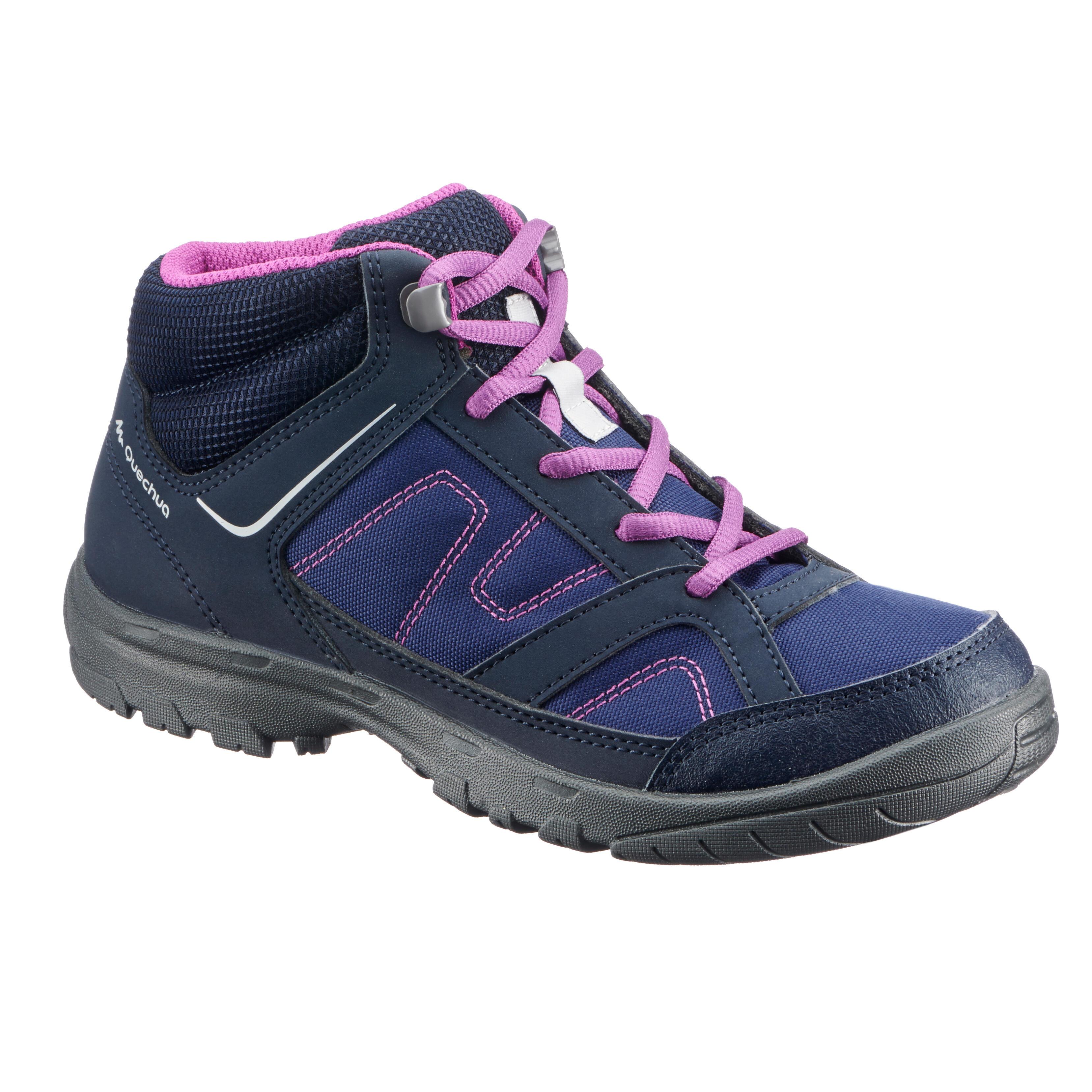 Quechua Hoge wandelschoenen voor kinderen MH100 mid paars 35 tot 38 kopen