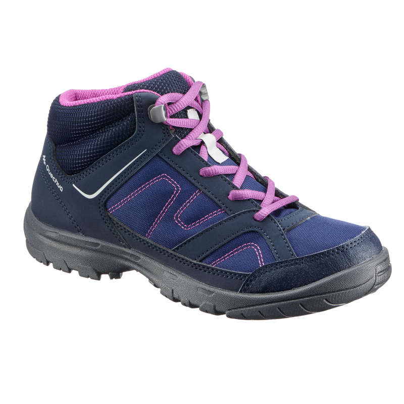 SHOES BOY Hiking - MH100 Mid Kids Walking Shoes - Purple QUECHUA - Outdoor Shoes