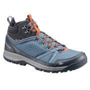 Modri moški srednje visoki vodoodporni pohodniški čevlji NH300