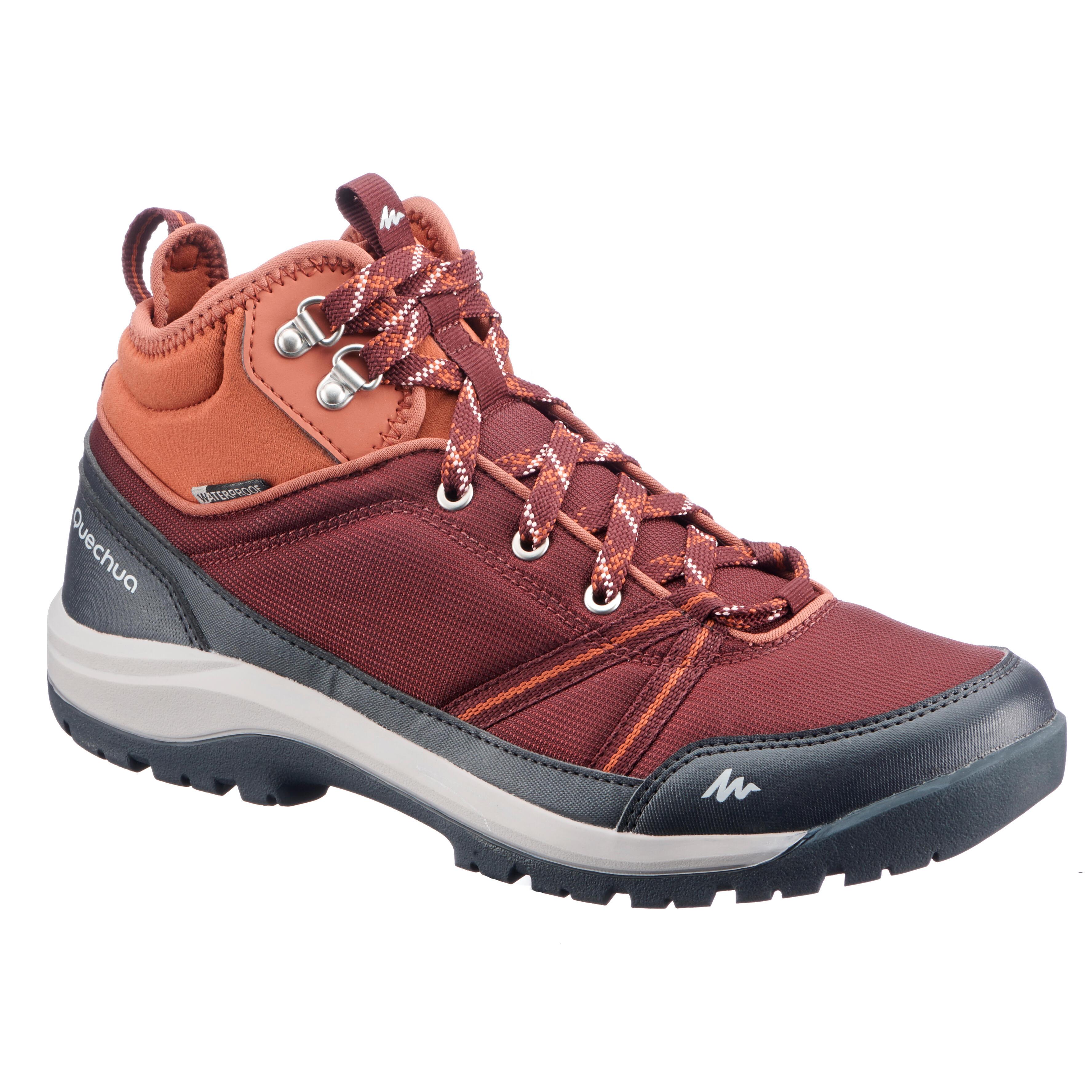 Quechua Schoenen voor wandelen in de natuur NH150 mid Protect bordeaux dames kopen