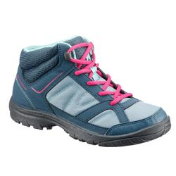 兒童款中筒登山健行鞋MH100-灰色/粉紅色(2號半至5號)