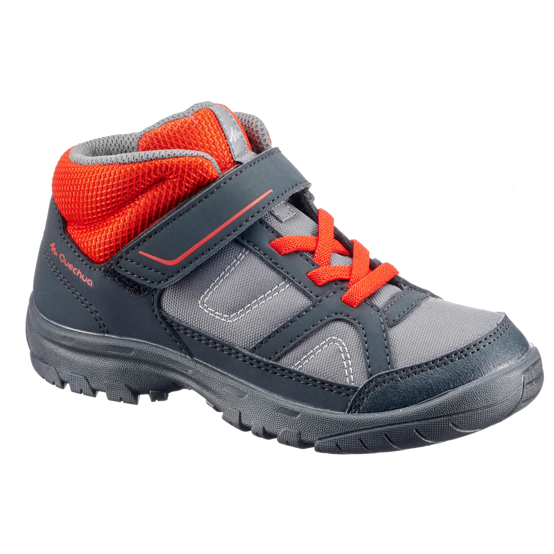Chaussures de randonnée enfant montantes mh100 mid kid grisesrouges 24 au 34 quechua