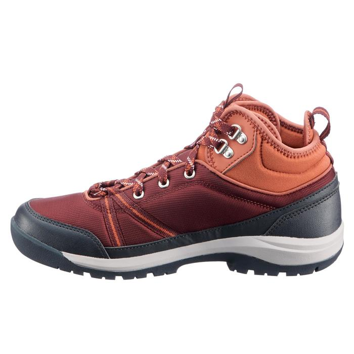 Zapatillas de senderismo en la naturaleza mid impermeable mujer Rojo