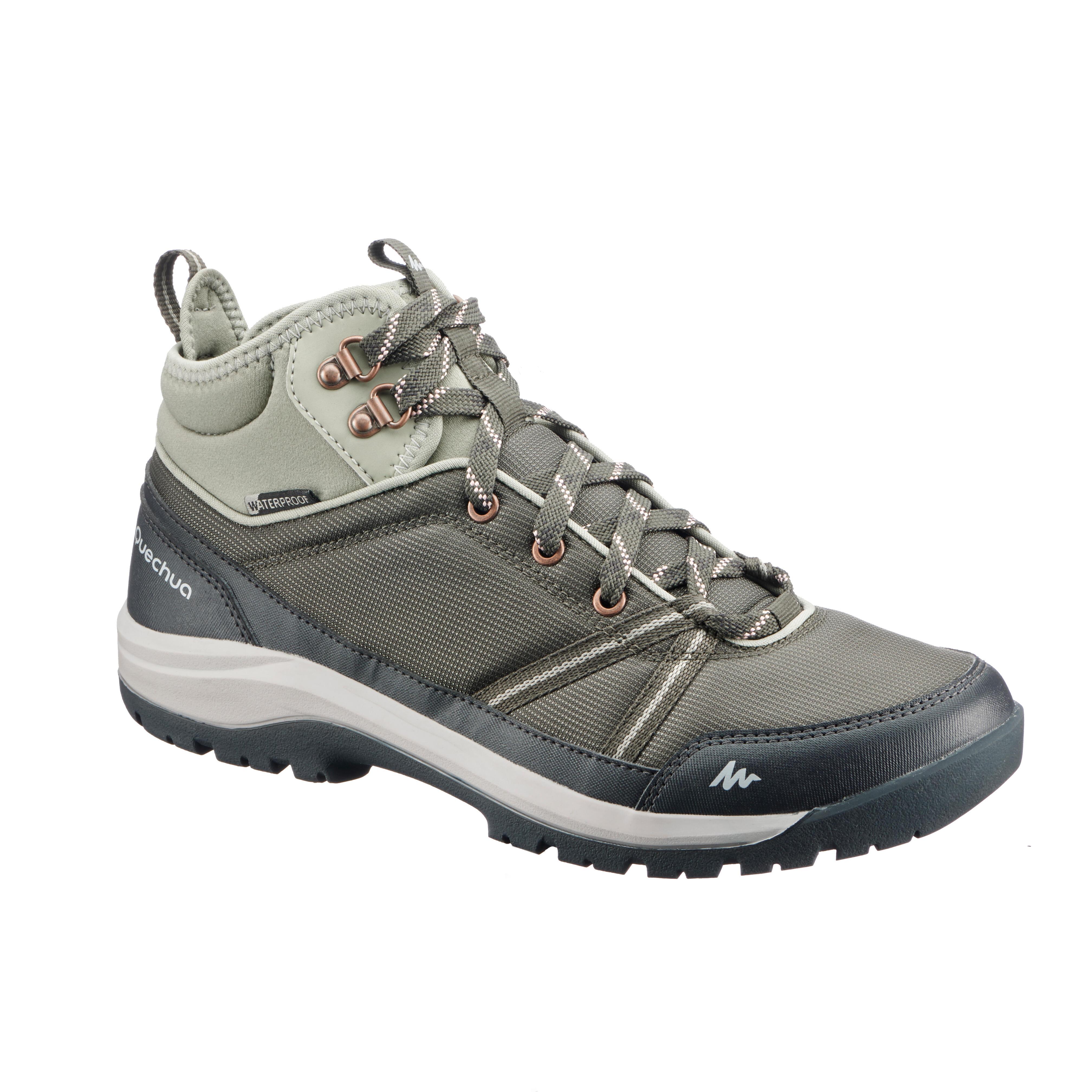 2562746 Quechua Wandelschoenen voor dames NH300 mid waterdicht groen kaki