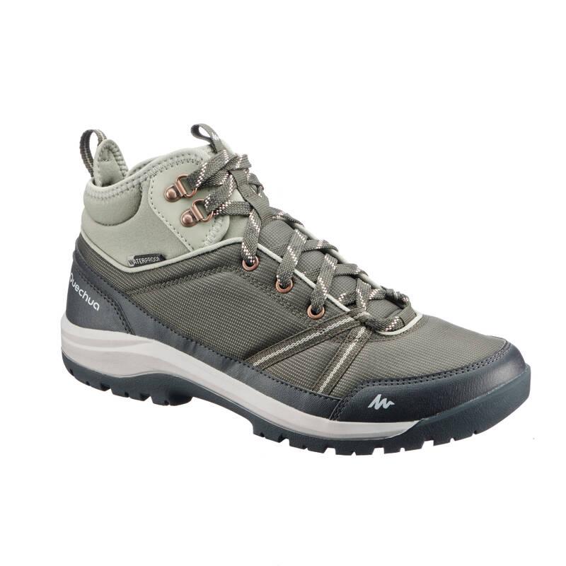 DÁMSKÉ BOTY NA NENÁROČNOU TURISTIKU Turistika - Nepromokavé boty NH 150 khaki QUECHUA - Turistická obuv