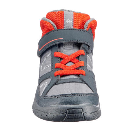 MH100 Mid Kids' Sepetu Boot Gunung Tinggi- Abu-Abu/Merah C7 hingga 2