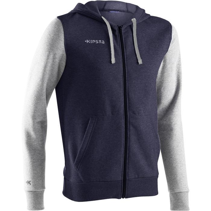 初階籃球連帽拉鍊外套-藍色/淺灰色