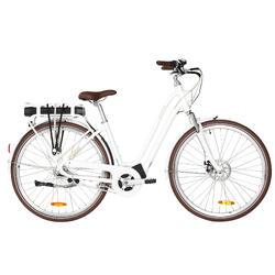 Elektrische fiets / E-bike dames Elops 920 stadsfiets laag frame wit