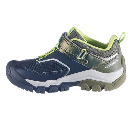 Boys low mountain walking shoes with hook and loop tabs Crossrock KID - Khaki