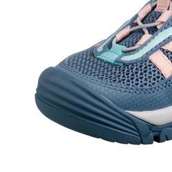 女童款魔鬼氈低筒登山健行鞋Crossrock-淺碧藍色