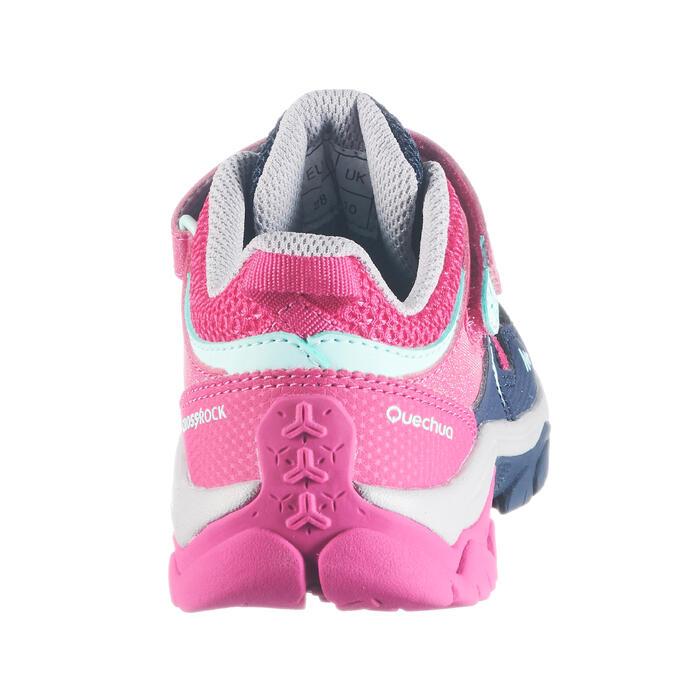 Wanderschuhe Crossrock Low mit Klettverschluss Kinder Mädchen blau/rosa
