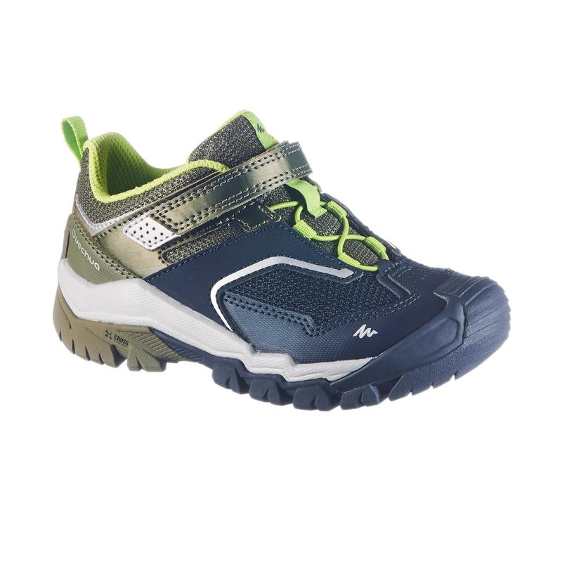 Boy's low mountain walking shoes with hook and loop tabs Crossrock KID - Khaki