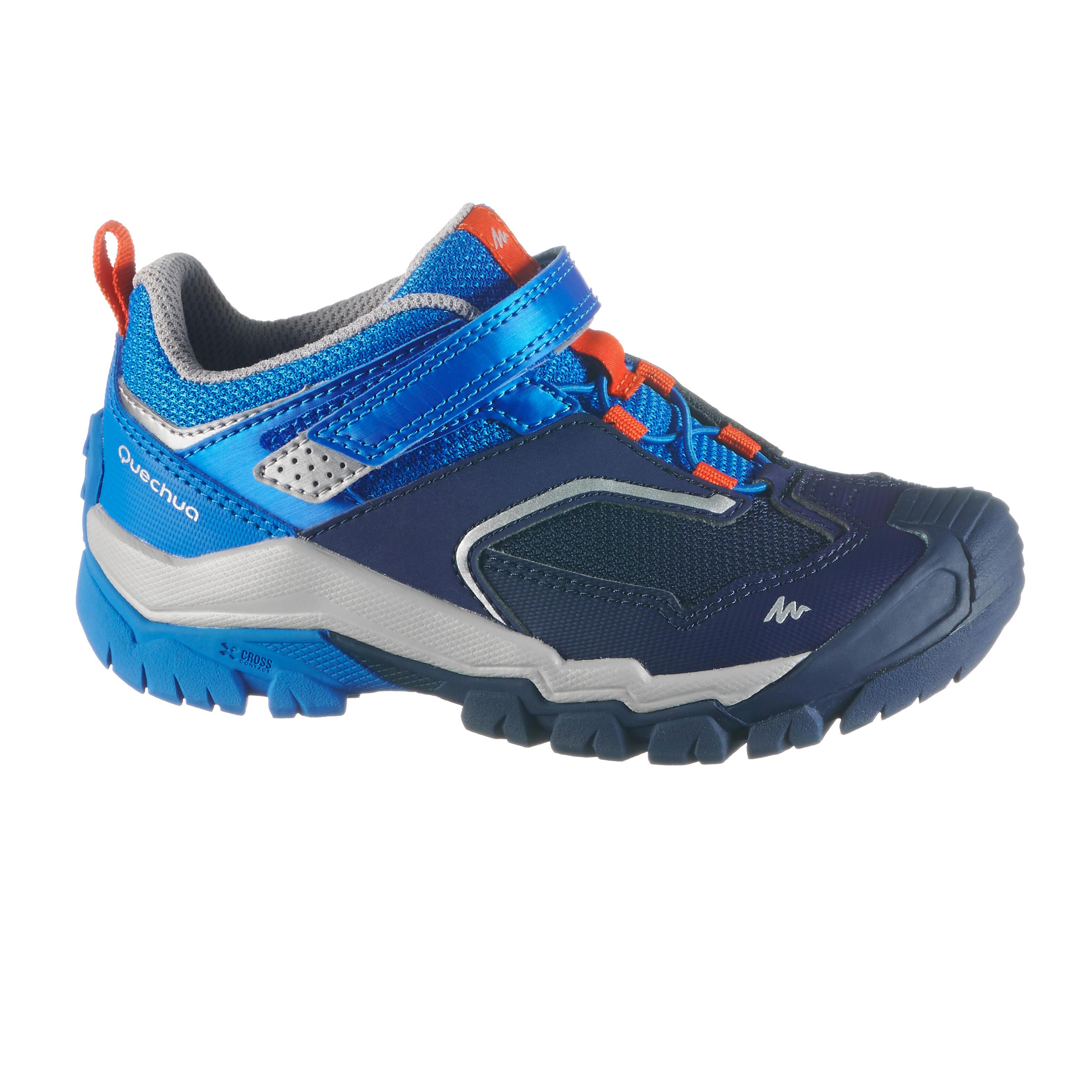 Chaussures de randonnée montagne basses avec scratch garçon crossrock kid bleues quechua