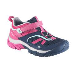 Chaussures randonnée montagne courtes bande autoagr fille Crossrock bleues/rose