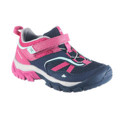 Girl's Low Mountain Hiking Shoes with Hook and Loop Tabs Crossrock - Blue/Pink