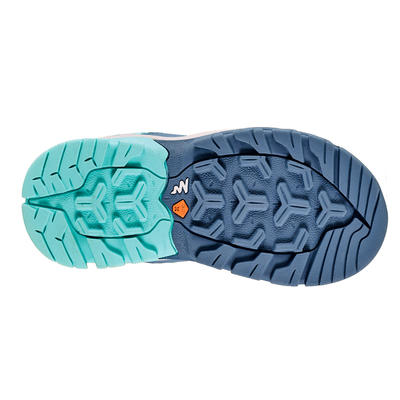Girl's Low Mountain Walking Shoes with Velcro strips Crossrock - Turquoise