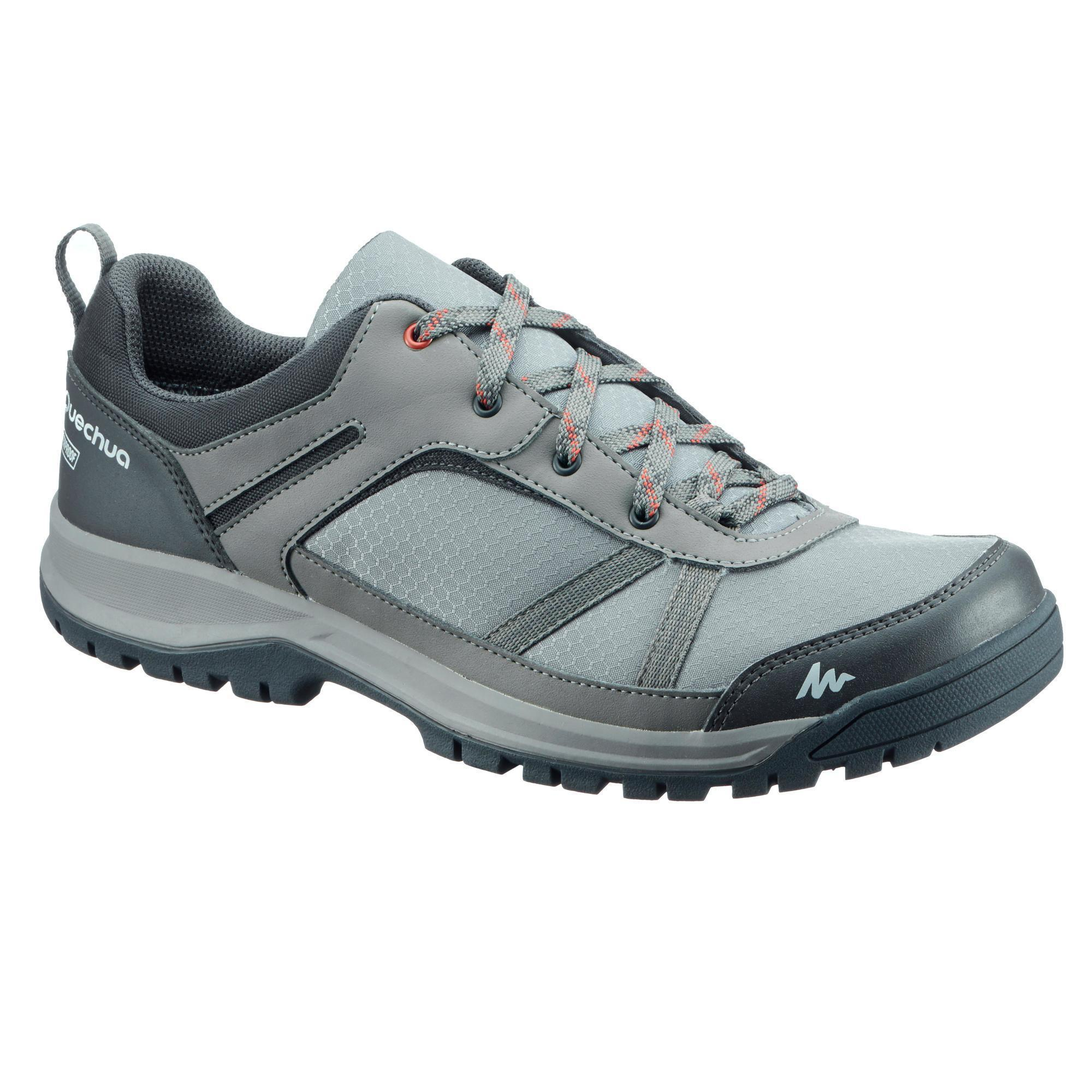 Nh300 Waterproof Men S Nature Hiking Boots Green Grey Quechua
