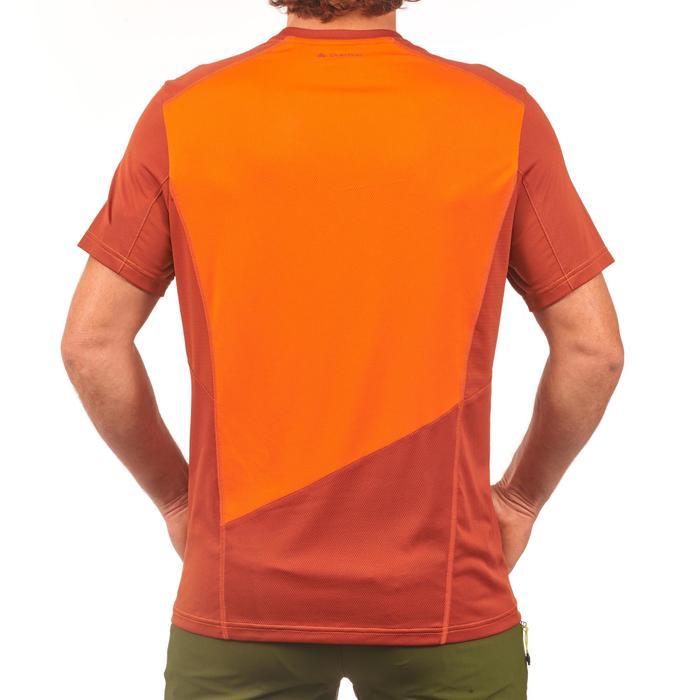 Camiseta de senderismo en montaña MH500 de manga corta hombre teja naranja
