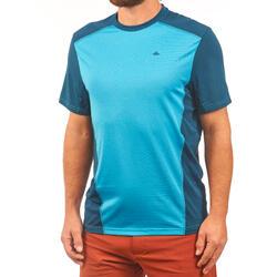 Wandelshirt voor bergtochten heren MH500 korte mouwen eendblauw