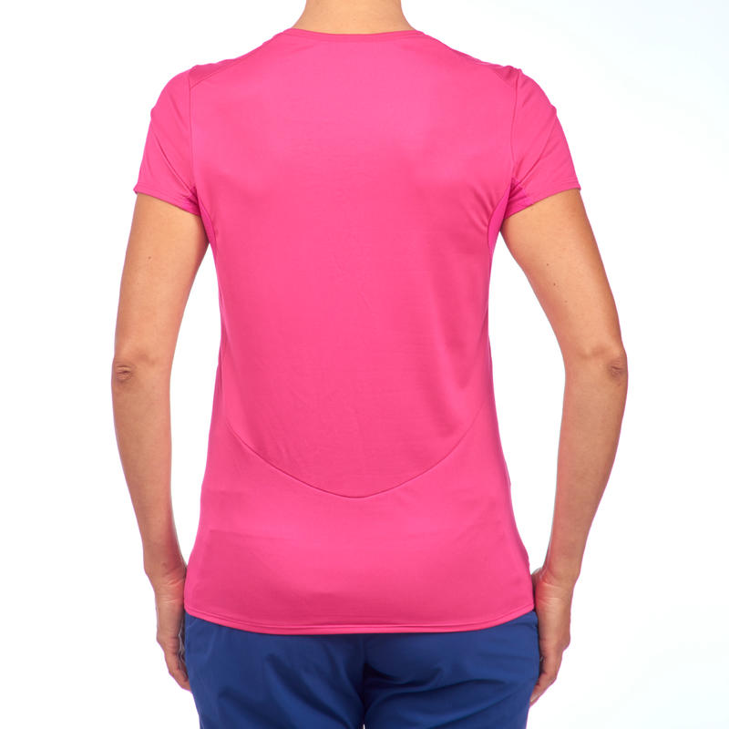 Women's Mountain Walking Short-Sleeved T-Shirt MH100 - Bright Pink