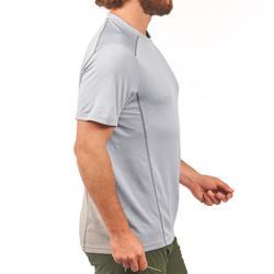 男款登山健行短袖T恤MH500-淺灰色