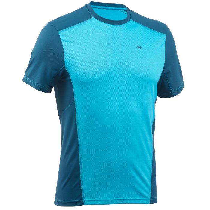 Tee Shirt Randonnée montagne MH500 manches courtes homme Bleu canard