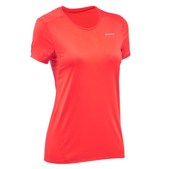 T-Shirt manches courtes de randonnée montagne MH100 femme Rouge orangé