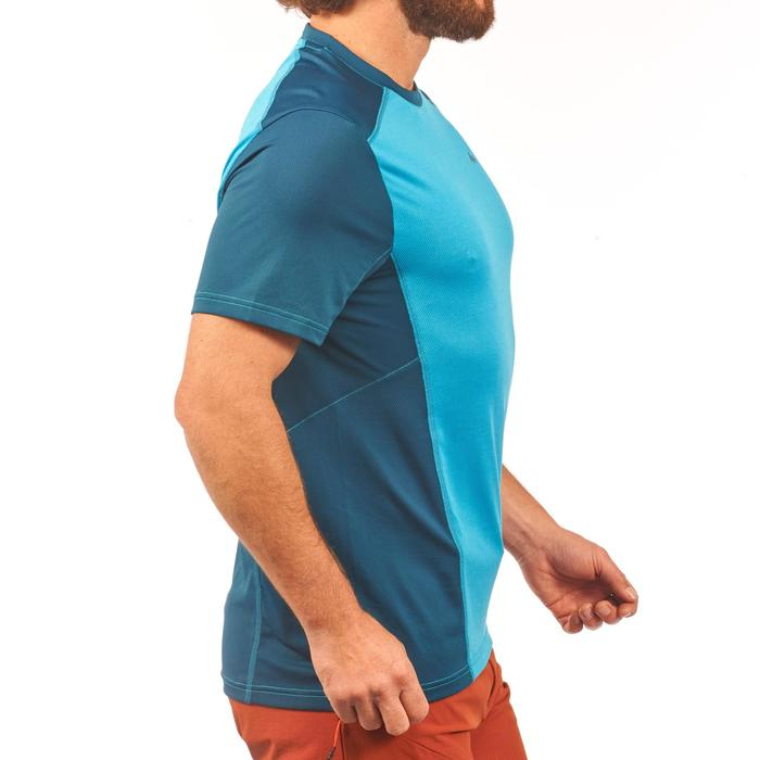 Heren T-shirt met korte mouwen voor bergtrekking MH500 eendenblauw