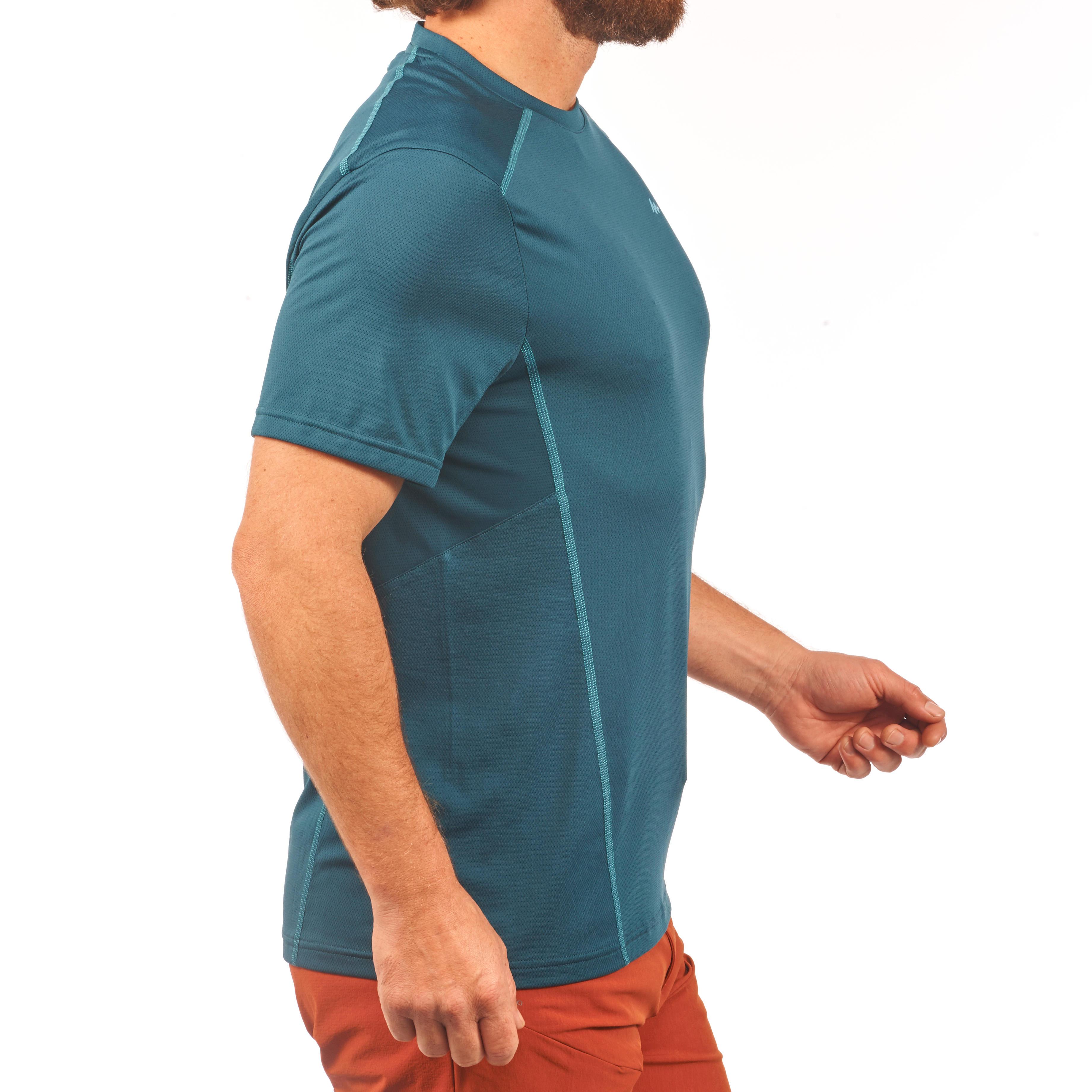 MH500 Men's Short-Sleeved Mountain Hiking T-shirt - Blue