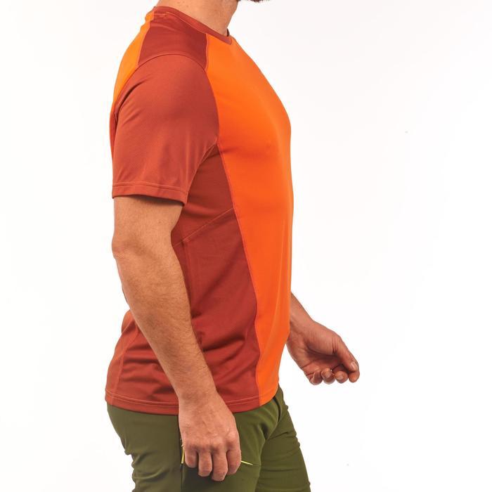 Heren T-shirt met korte mouwen voor bergtrekking MH 500 steenrood oranje