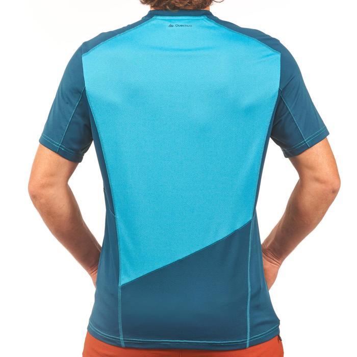 男款登山健行短袖T恤MH500-藍色/潛越款