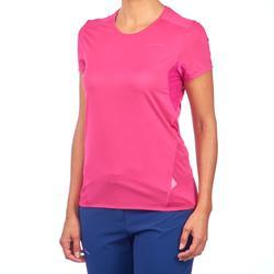 女款登山健行短袖T恤MH100-亮粉色