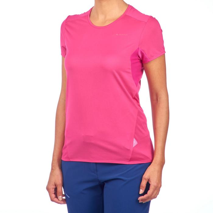 Women's Mountain Walking Short-Sleeved T-Shirt MH100 - Bright Pink