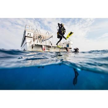 Masque de plongée sous marine SCD 500 Bi-hublot jupe bleu et cerclage fluo