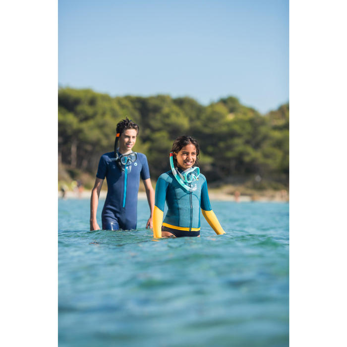 兒童款1.5 mm氯丁橡膠浮潛上衣900-藍色/黃色