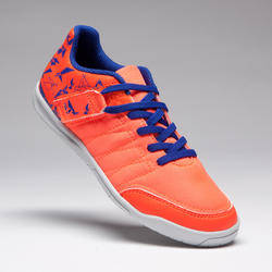 Chaussure de Futsal enfant CLR 500 à bande autoagrippante orange bleue