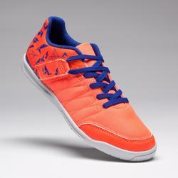Zapatillas de fútbol sala júnior CLR 500 con tira autoadherente naranja azul