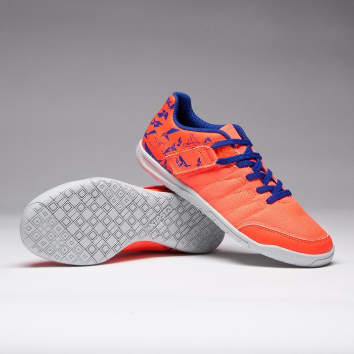 Hallenschuhe Futsal Fußball CLR 500 mit Klettverschluss Kinder orange/blau