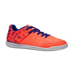 Zaalvoetbalschoenen voor kinderen CLR 500 met klittenband oranje blauw